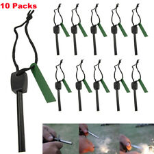 10PCS Survival Magnesium Flint Stone Fire Starter Emergency Lighter Kit Sparking