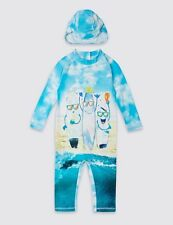Ex Marks & Spencer uv upf40+ protection swimsuit and hat 9-12 & 12-18 months New