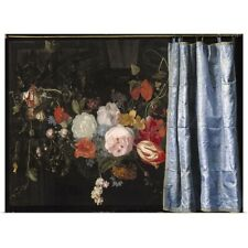 Poster Print Wall Art entitled Trompe-l'Oeil Still Life with a Flower Garland
