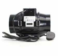 New Black Mixed-Flo in Line Extractor Fan With Uk Plug & Lead