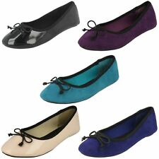 Spot On Girls Flat Ballet Shoes With Bow Detail