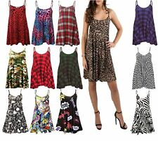 Womens Sleeveless Strappy Printed Cami Swing Dress Ladies Fancy Long Vest Top