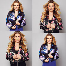 Fashion Womens Ladies Floral Zipper Up Bomber Jacket Casual Coat Outwear size