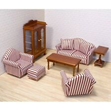 Dolls House Living Room Furniture Set Wooden Sofa Table Family Room 1/12 Scale