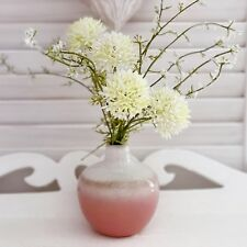 VINTAGE STYLE BUD VASE PINK WHITE OMBRE CERAMIC FLOWER DISPLAY , MEADOW BUNCH