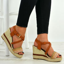 New Womens Ladies Ankle Strap Peep Toe Espadrille Wedge Platforms Shoes Size Uk