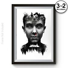 Black & Grey Eleven Stranger Things The Upside Down Wall Art Poster Print