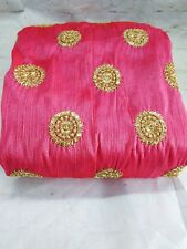 Mulberry Silk Gold Buta Embroidery Fabric for Blouse Kurti Dress Lehenga