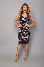 Ladies Womens Floral Print Cami Fitted Dress Summer Party Beach Casual Size 8-16
