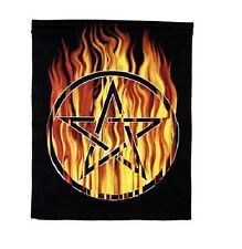 100% Cotton Flaming Pentagram Wall Hanging - Pagan / Wicca (Y7)