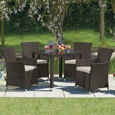 Rattan Garden Furniture Outdoor Dining Set with Glass Table