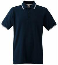 Fruit of the Loom Tipped Polo Shirt Navy mod skinhead