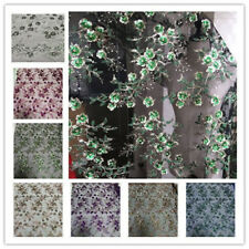 "Floral Embroidery Wedding Lace Fabric 53"" Wide Beaded Bridal Lace Fabric 1 Meter"