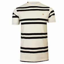 FARAH T SHIRT HEWITT MENS ECRU AND NAVY STRIPED CREW NECK TOP