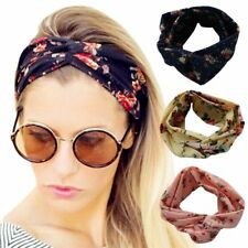 Fashion Retro Women Elastic Turban Twisted Knotted Ethnic Headband Floral Wide