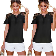 Womens Summer Tops Short Sleeve Strappy Cold Shoulder Black Lace Chiffon Blouse