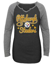 Pittsburgh Steelers NFL Girls' Gray Team Long-Sleeve Graphic T-Shirts/Tee: S-XL