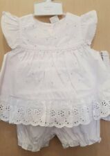 Baby Girl White Cotton Dress, Bloomers and Headband Set / Outfit.