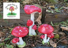 Tall Red Fairy Garden Triple or Twin Forest Mushroom toadstools fairies decor