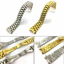 20mm Stainless Steel Solid  Wrist Watch Band Strap Curved End Bracelet