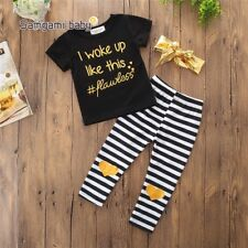 Toddler Kids Girls Summer T-shirt Tops and Pants Outfits Babies Clothes Age 1-3