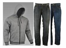 RKSports Motorcycle Motorbike Kevlar Lined Grey Hoodie and Protective Jeans CE