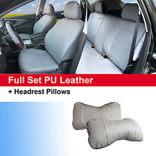 100% PU Leather Front Rear Auto 5 Seats Cushion Covers to Sedan SUV 53551 Gray
