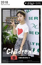 2PCS Kids Girls Summer Checked T-shirt Tops and Skirt Outfits Clothes Age 6-14