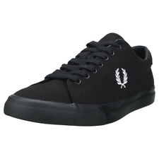 Fred Perry Underspin Mens Black White Canvas Trainers