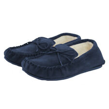 Lambland Ladies Navy Genuine Suede Sheepskin Moccasin Slippers with PVC Sole