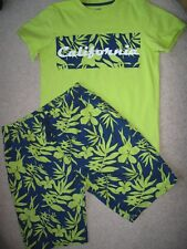 Boys H&M Teen Age 12 13 14 Short Pyjamas Shorts Tshirt Green California Tropical