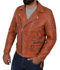 Tough COGNAC Cowhide Biker Leather Jacket Latest Mens Fitted Rugged Quilted Coat
