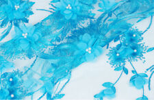 "Embroidery Wedding Tulle Lace Fabric 47"" 3D Floral Beaded Bridal Lace Fabric 1 Y"