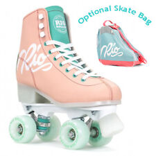 Rio Roller Script Quad Roller Skates Peach/Green - Optional Skate Bag