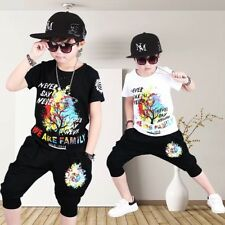 Toddler Kids Boys Summer T-shirt Tops and Pants Outfits Sport Clothes Age 4-13