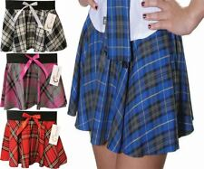 Womens Mini Tartan Flared Panel Skirt with Bow Ladies School Fancy Dress Skirt