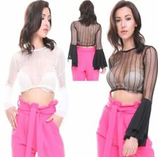 Womens Flare Sleeve Striped Sheer Crop Top Ladies Fancy Party Wear Shirt Top