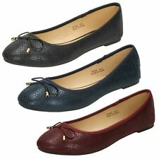Ladies Spot On Ballerina Flat Shoes With Bow Trim