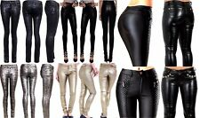 WOMEN'S GIRLS LADIES SUPER LEATHER WET LOOK JEANS SKINNY FIT HIGH WAIST TROUSERS