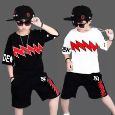 Toddler Kids Boys Summer T-shirt Tops and Pants Outfits Sport Clothes Age 4-16