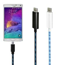 Flowing LED Light Micro USB Data Sync Charger Cable Charging Cord For Samsung
