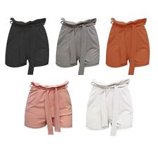 Womens Paper Bag Belted Shorts Ladies Fancy High Waist Casual Wear Summer Shorts