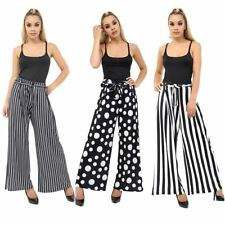 Women Striped Dotted Flared Belted Palazzo Ladies Wide Leg Loose Stretch Trouser
