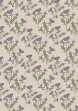 LEWIS & IRENE A WALK IN THE GLEN THISTLE ON CREAM 100% COTTON FABRIC A89.4