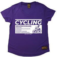 Ladies Cycling Cycling Side Effects átee T SHIRT DRY FIT V NECK T-SHIRT