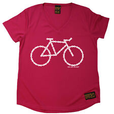 Ladies Cycling Bike Chain Bicycle Breathable átee T SHIRT DRY FIT V NECK T-SHIRT