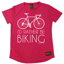 Ladies Cycling Id Rather Be Biking Breathable T SHIRT DRY FIT R NECK T-SHIRT