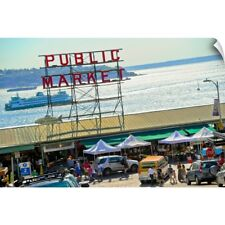 Wall Decal entitled People in a public market, Pike Place Market, Seattle,