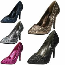 Spot On Ladies Glittery Court Shoes