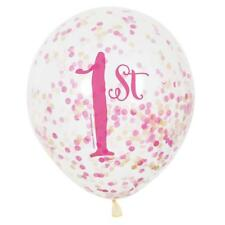 """Unique Party 58165 - 12"""" Pink and Gold Girls 1st Birthday Confetti Balloons,..."""